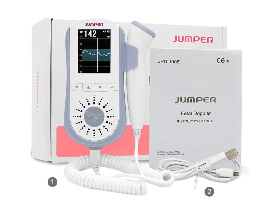 JUMPER Fetal Doppler Heartbeat Detector Portable Ultrasound Pregnant Baby Heart Rate Monitor LCD 3.0MHz Pocket Vascular Doppler  (5)