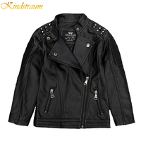 Kindstraum 2016 New Kids Faux Leather Jackets For Boys Girls Children Fashion Brand Coats Outerwear Spring