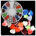2016 Nuevo Llega El 3D Piedras de Ágata Amor Corazón Rueda de Uñas Nail Art Decoración Diy Diseño para Esmalte de Uñas de Gel 24 Unids/caja
