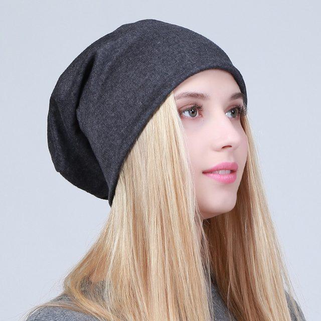 Geebro Women s Plain Beanie Hat 2018 Spring Cotton Slouchy Beanie for Women  Knitted Bone Hat Ladies Black Skullies Cap JS293A 3b64701423f