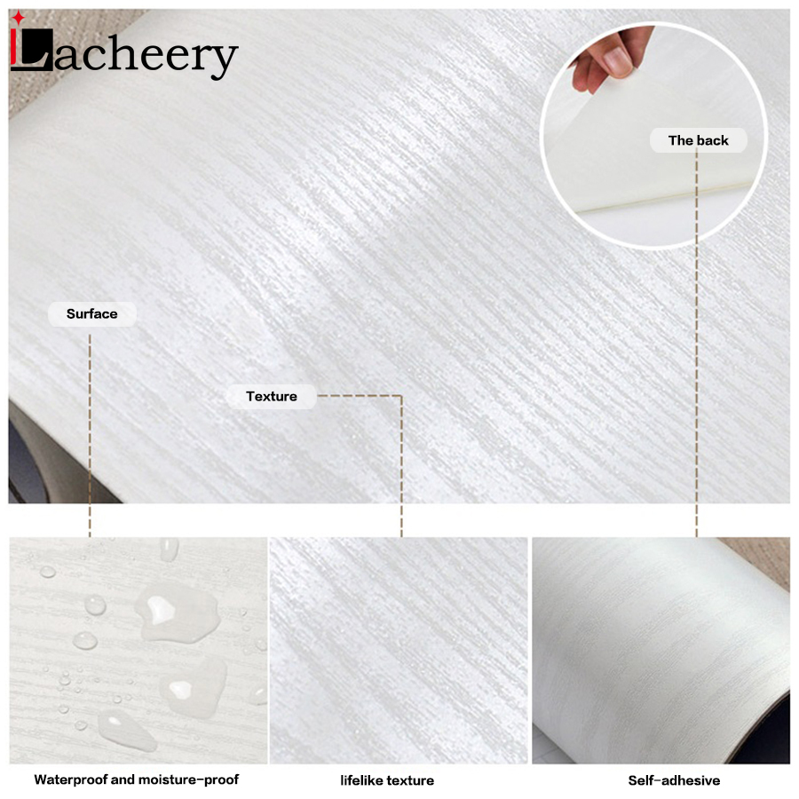 Thick Waterproof PVC Wood Texture Wall Stickers Self adhesive Wallpaper Bedroom Wardrobe Desktop Film Furniture Renovation Decal in Wall Stickers from Home Garden
