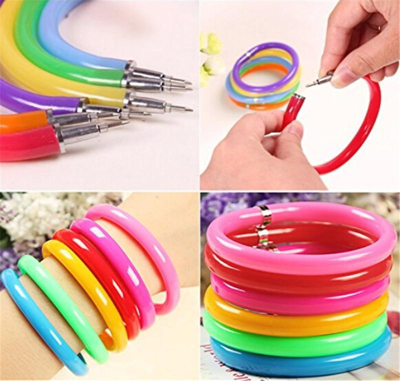 10 pcslot Flexible Ball Pen Cute Soft Plastic Bangle Bracelet Wristlet Circlet Ballpoint Pens School&Office Supplies