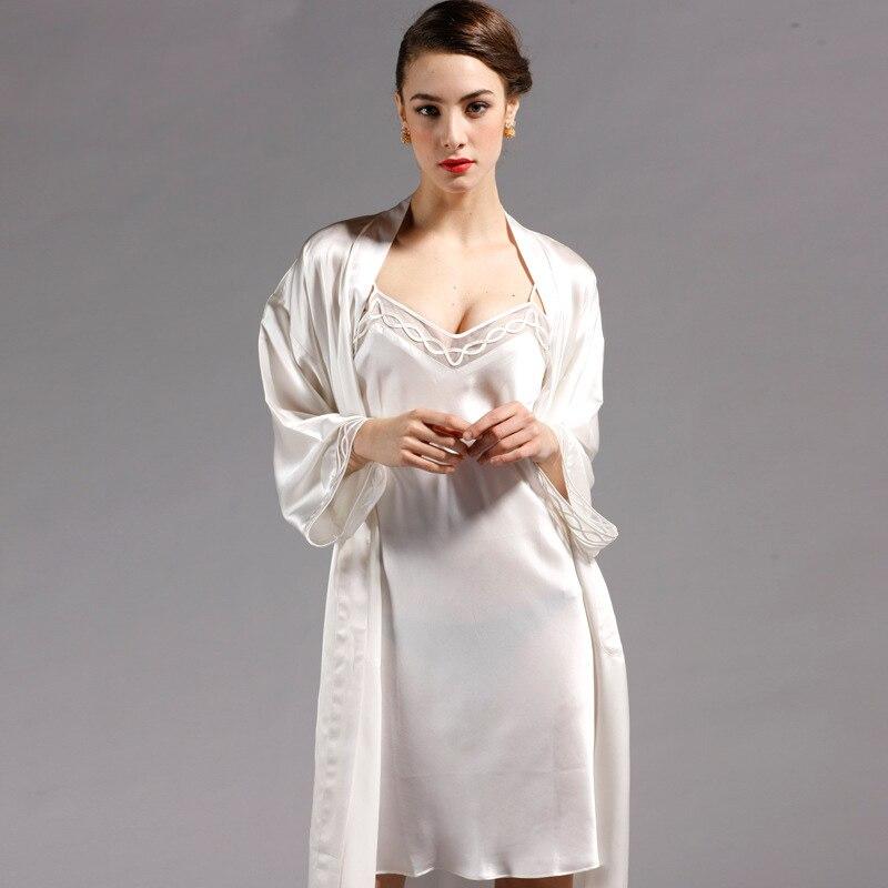 Fashion Silk Robes Suspender Nightgowns Women Sexy Suspender Silk Lace Luxury Robe Sets Bathrobe Loungewear