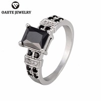 OAIITE Black Square Zircon Rings Fashion Vintage Women Men Ring No Lead No Heavy Metals Engagement