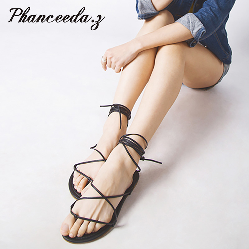 New 2017 Shoes Women Sandals Lack Up Fashion Gladiator Sandal Sexy Hair ball Flip Flops Casual Tassel Slippers Flat Size 5-10 2016 genuine leather sandal shoes brand designer beach flip flops slippers male flat sandals for men 38 44 size