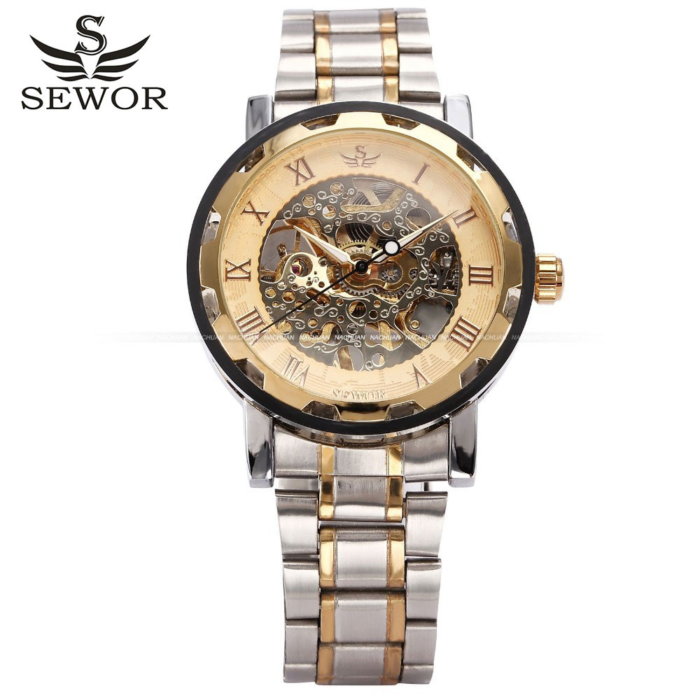 2016 new fashion skeleton hollow steel font b men b font male clock Sewor brand stylish