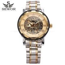 2016 nueva moda hollow skeleton hombres de acero reloj masculino Sewor marca diseño elegante clásico vestido de pulsera mecánico reloj del deporte del ejército