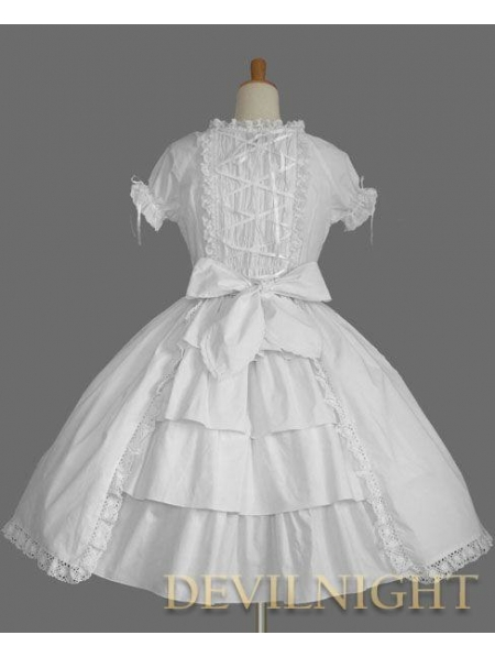 White Short Sleeves Ruffles Bow Sweet Lolita Dress - 2