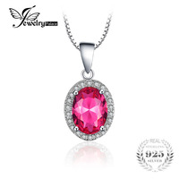 JewelryPalace Pink Created Sapphires Pendants 925 Sterling Silver Fashion Jewelry Designer Jewelry For Women With 45cm