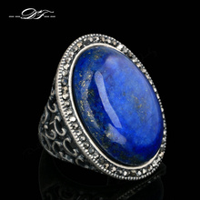 Semi-precious Stone Lapis Lazuli Fashion Finger Rings Antique Silver Plated Vintage Punk Jewelry anel Wholesale DFR399