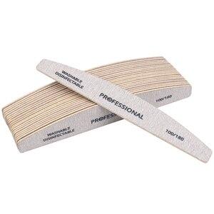 Image 3 - 100 pièces lime à ongles en papier de verre en bois 100/180 tampon de manucure professionnel gris bateau pédicure Double face tampons en bois fournitures pour ongles