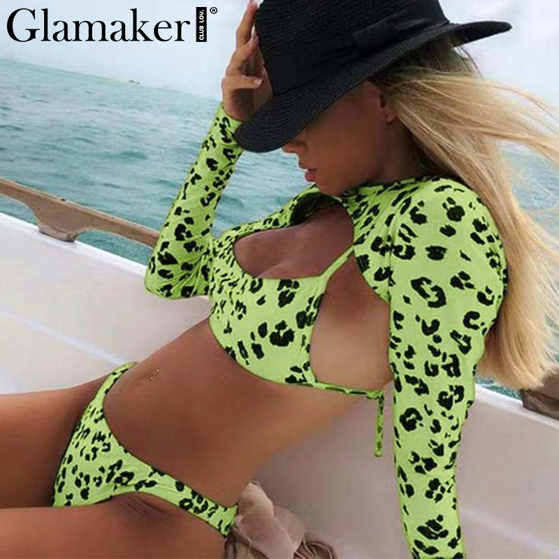 Glamaker Neon Leopard Print Bikini Set Long Sleeve Swimsuit Push Up Sexy Swimwear Women High Cut Bathing Suit 2-piece Bodysuit
