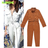 2018 women clothing long sleeve lapel belt solid relaxed jumpsuits rompers Female fashion casual loose capris cotton pants L884