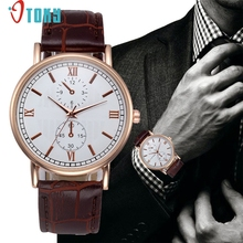 Watches OTOKY Willby Men's Fashion Roman Numerals Leather Business Watch 170302 Drop Shipping