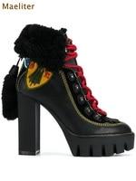 Новые Бежевые черные ботинки на меху высокий толстый каблук многоцветные платья Сапоги и ботинки для девочек платформы вышитые Кружево up о