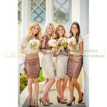 2 Piece Dress White Lace & Sequin Bridesmaid Dresses with Long/Short Sleeve Women Evening Wedding Party vestidos damas de honor