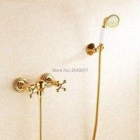 浴室のシャワーセットゴールデンフィニッシュウォールマウント固体真鍮高品質風呂シャワーミキサーZR056