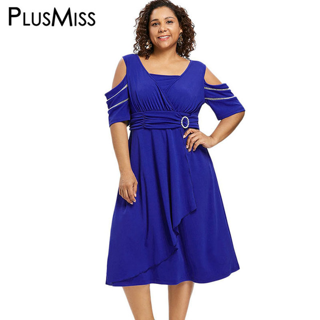 afe7dcbba3304 PlusMiss Plus Size Vintage Retro Cold Shoulder Midi Dress 5XL Women Clothing  Big Size Party Dresses Ladies Blue XXXXL XXXL XXL