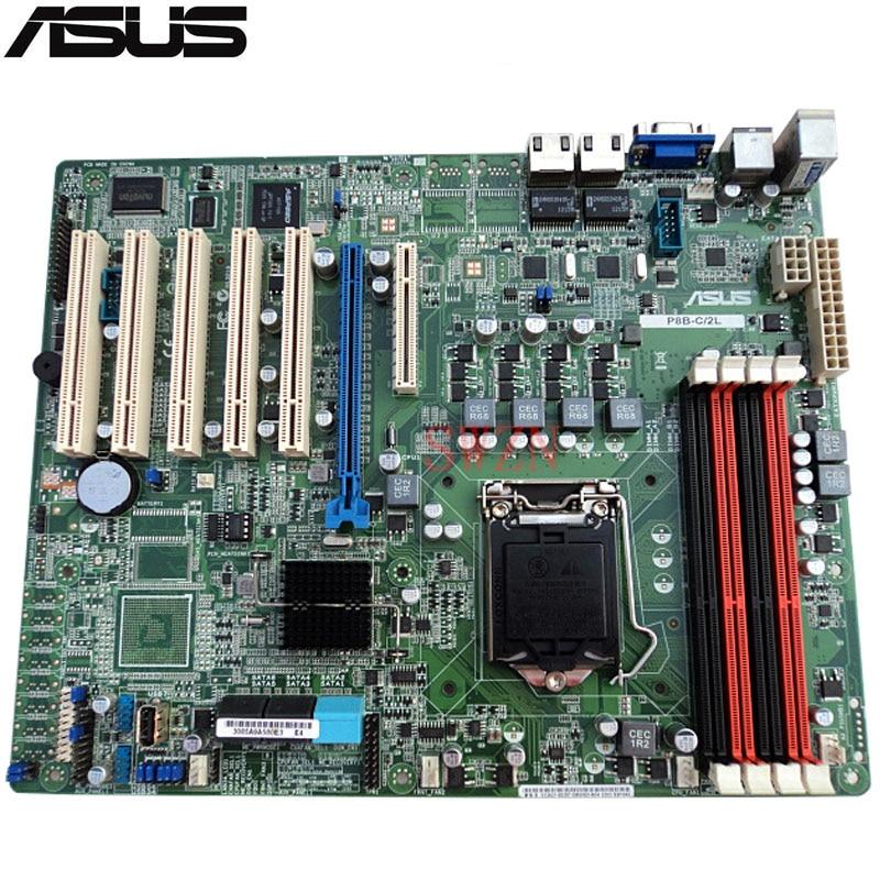 original Used Server motherboard For ASUS P8B-C/2L P8B-C 2L Socket 1155 Maximum 4*DDR3 32GB 2xSATAIII 4xSATAII ATX
