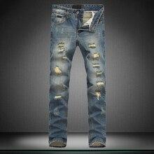 Новый мальчик джинсы Маленькие ноги брюки бренд брюки отверстия дизайнер