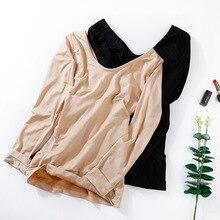 Winter Seamless Hermal Underwear Plus Velvet Bottoming Shirt Female Thick Keep Warm Abdomen Underw