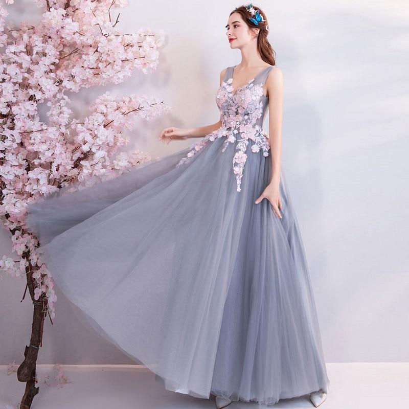 SOCCI Weekend elegante v-hals galajurk 2018 nieuwe grijs roze - Jurken voor bijzondere gelegenheden - Foto 3