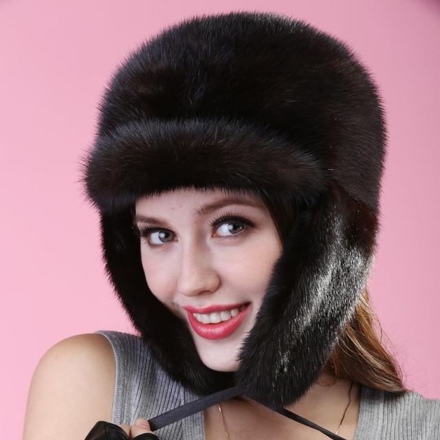 2015 autumn winter Super warm below zero show women mink ear muffs fur Russian style cap lady luxur fur hat famous band new