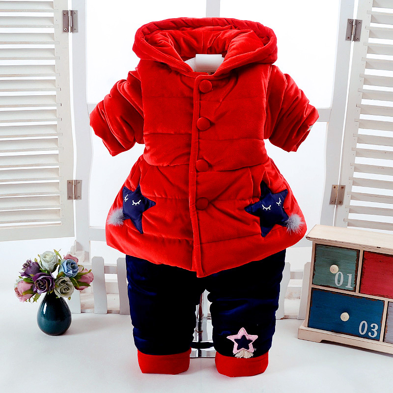 2Pcs/Set Winter Baby Girls Clothes Newborn 0-6Months Add Cotton-Padded Super Warm Long Sleeve+Pant Infant Set Purple Star Design