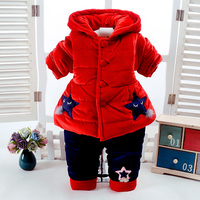 2Pcs/Set Winter Baby Girls Clothes Newborn 0 6Months Add Cotton Padded Super Warm Long Sleeve+Pant Infant Set Purple Star Design
