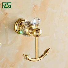entire European sanitary copper crystal gold-plated metal pendant bathroom coat hooks single hook