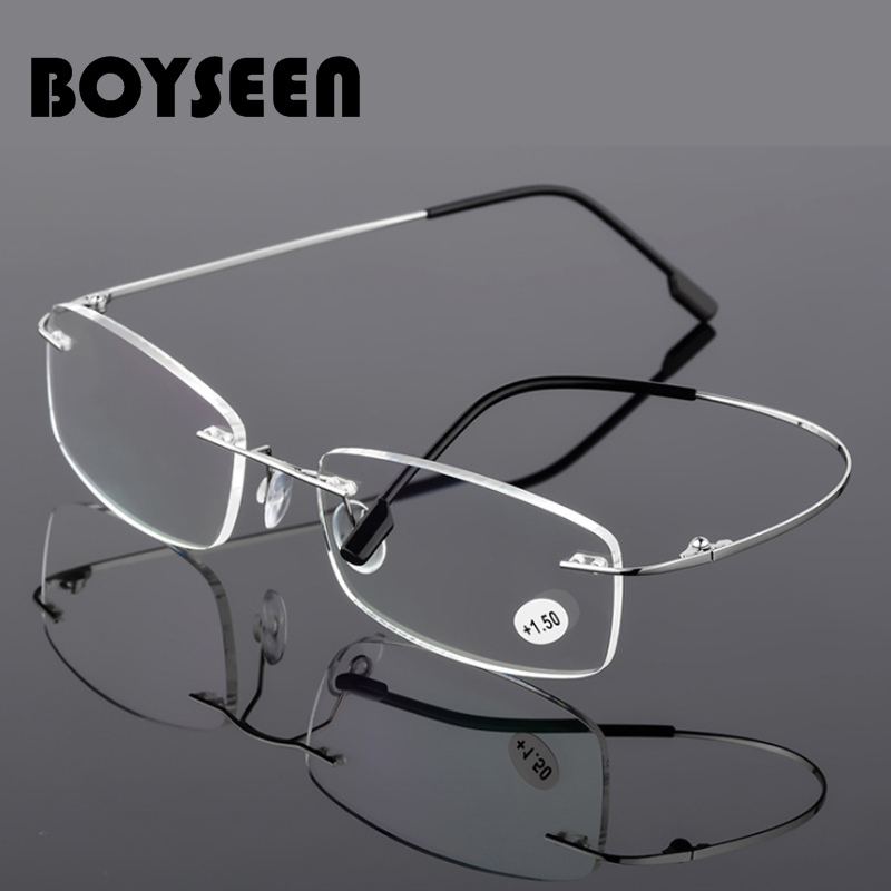 BOYSEEN Rimless Reading Glasses Men Titanium Alloy Fold Women Square Eyeglasses Presbyopic Frameless Eyewear  1.0  1.5  2.0  2.5