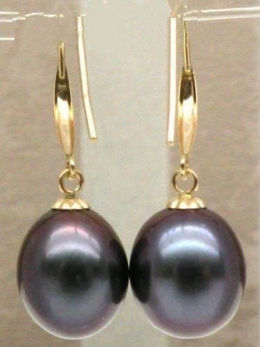 free shipping charming pair of 11-13mm south sea baroque black pearl earring 14k/20 цена и фото