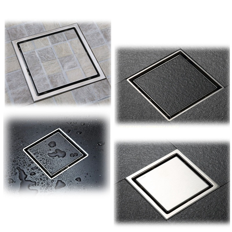 golden copper anti odor square bathroom accessories sink floor bathtub shower drain cover luxury sewer filter k 8803 Anti-odor Bathtub Shower Drainer Floor Strainer 10x10cm 304 Stainless Steel Square Invisible Bathroom Floor Drain Waste Grate