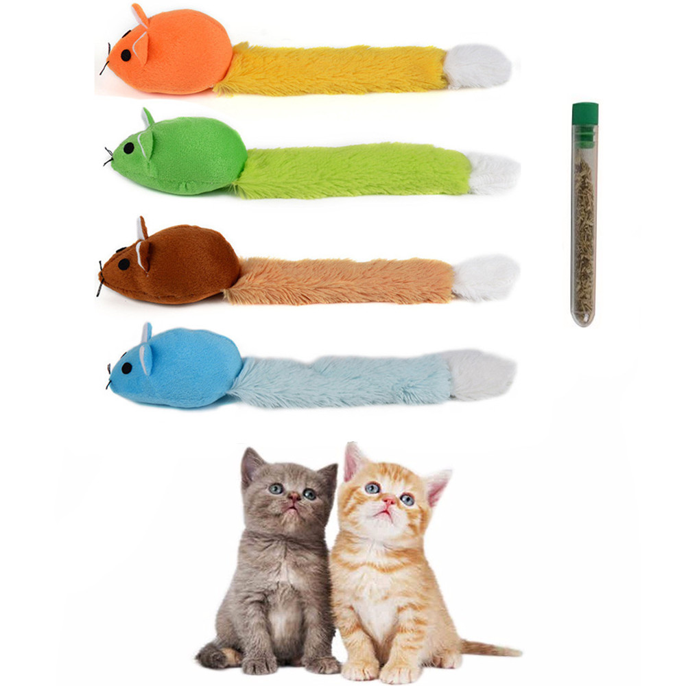 1pcs Long Tail Mouse Cat Teaster Toys Funny Pet Toys Cat Toys Mouse Trainning Funny Playing Toys Interactive With Catnip 4 Color