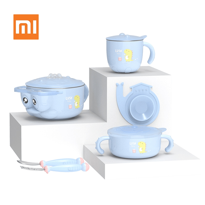 Xiaomi Heat Preservation Baby Tableware Safety Children Dishes Set Stainless Steel Kids Feeding Bowl Spoon Fork Cup with Sucker|Personal Care Appliance Accessories| |  - title=