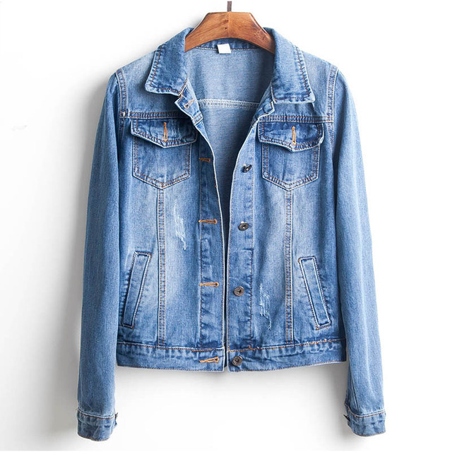 Plus Size Ripped Hole Cropped Jean Jacket  2