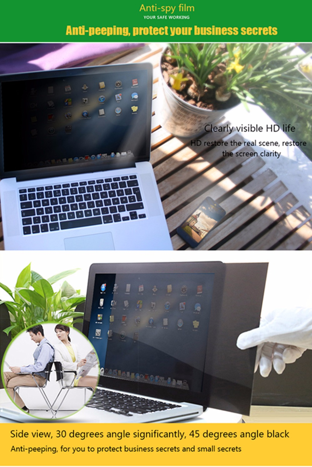 23 inch Privacy Filter Anti glare screen protective film SZEGYCHX For Notebook 16 9 Laptop 50 9cm 28 6cm in Screen Protectors Filters from Computer Office