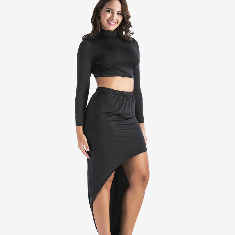 f6384613013995 SheBlingBling Plus Size Women Black Two Piece Outfits Long Sleeve  Turtleneck Crop Tops and High Waist Asymmetric Hem Maxi Skirt-in Women s  Sets from Women s ...