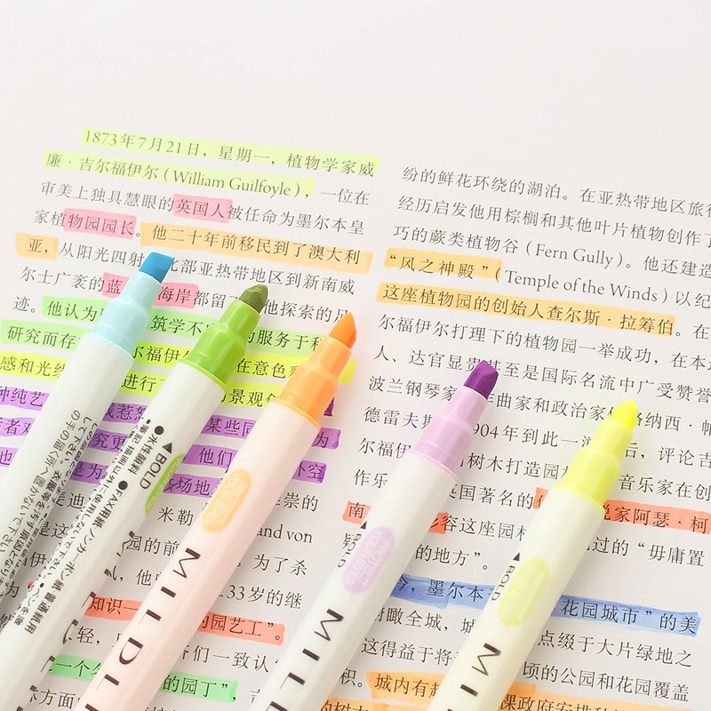 12 Pcs set Color Japanese Pens Milkliner Double Headed Fluorescent Pen Cute Art Highlighter Drawing Marker Pen Stationery in Highlighters from Office School Supplies