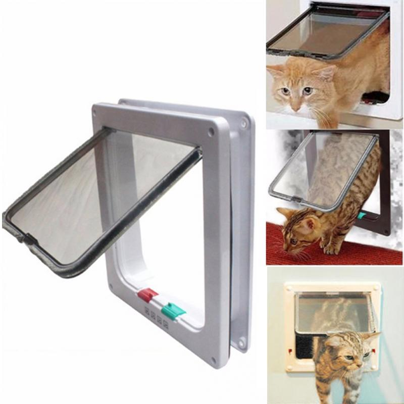 New Arrival Controllable Plastic Kitten Pet Cat Puppy Dog Supplies Lock Lockable Safe Flap Door 3 Size White Cat Gates