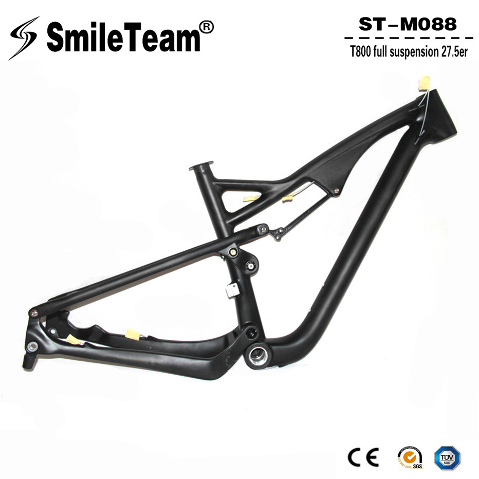SmileTeam Carbon Full Suspension Frame 27.5er Carbon MTB Frame 142*12mm Thru Axle Mountain Bike Suspension Frame 650B Frameset 17 inch mtb bike raw frame 26 aluminium alloy mountain bike frame bike suspension frame bicycle frame