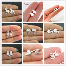 1 Pair Antique Silver/Gold Color Tone Maple Leaf/Pot Weed Leaf Charms Pendants Stud Earring Jewellery For Women(China)