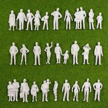 Figuras de pie blancas de 90 Uds., personas sin pintar O a escala 1:43, para modelismo de tren en miniatura