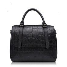 HD303 new 2017 female Fashion Crocodile Print Head Layer Cowhide Shoulder Bag Portable Lady Handbag