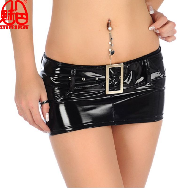 Buy New Sexy Micro MINI Skirt Latex Faux Leather Skirt Sequin Skirt Tight Hip Slim Low Waist Belt Pencil Package Hip Skirt