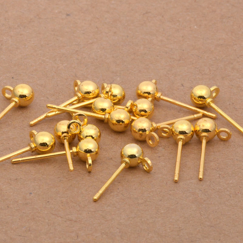 US $0 98 49% OFF 20pcs 3mm 4mm 5mm Gold/Silver Ball Heads Pins Needles  Earring Stud Blocks For DIY Handmade Ear Necessary Jewelry Making  Findings-in