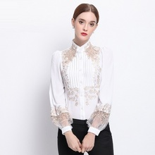 High Quality New Blouses For Women Spring Shirt 2017 Ladies Luxury Embroidery Long Sleeve Office Female Chiffon Blouses Shirt