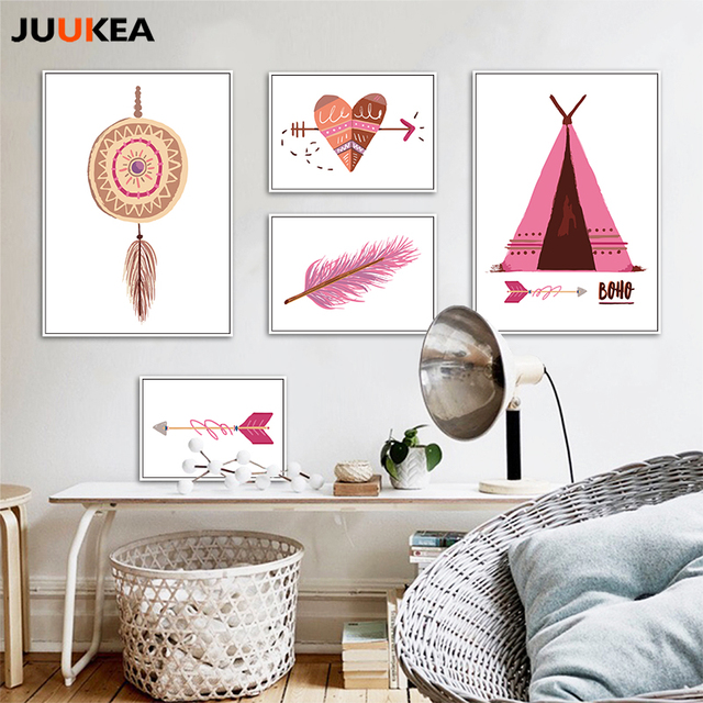 Aliexpress.com : Buy BOHO Elements Pink Feather Tribal Illustrations ...