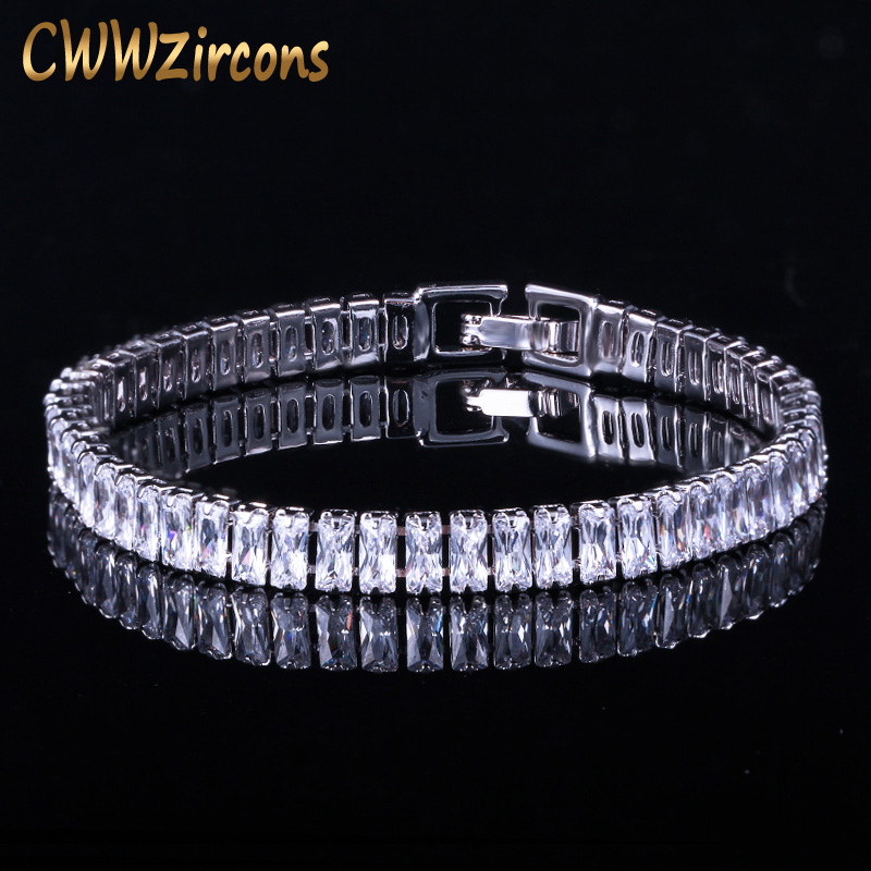 CWWZircons Brand Gorgeous Trapezoid Cubic Zirconia Silver Color Elegant CZ Tennis Bracelet For Women Jewelry Gift CB068 car bight glossy black double slat front grille grill for bmw e92 lci facelift e93 2011 2012 2013 c 5