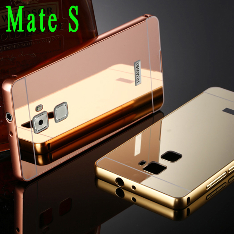 Luxury Metal Aluminum Alloy Bumper Frame for Huawei Mate S Case Gold Plating Mirror Back Cover for Huawei Mate S Phone Bags Capa